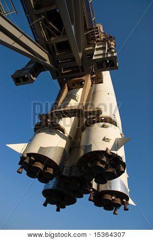 Cohete en centro de exposiciones de Moscú.