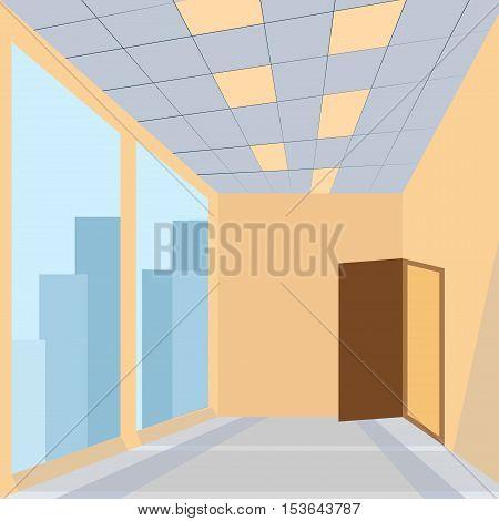 office with door huge glass space story building - vector