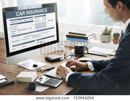 Car Insurance Form Accidental Concept