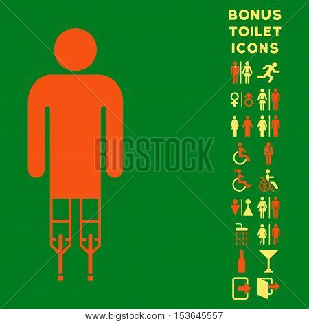 Man Crutches icon and bonus male and lady toilet symbols. Glyph illustration style is flat iconic bicolor symbols, orange and yellow colors, green background.