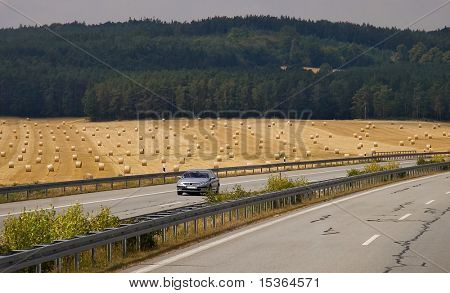 Highway. Wheat fild. Germany.