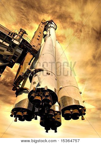 Rocket on hot planet. Computer created image. Fiction illustration.