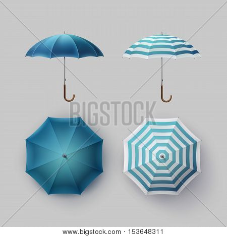 Vector Set of White Blue Striped Blank Classic Opened Round Rain Umbrella Parasol Sunshade Top Front Side View Mock up Close up Isolated on Background