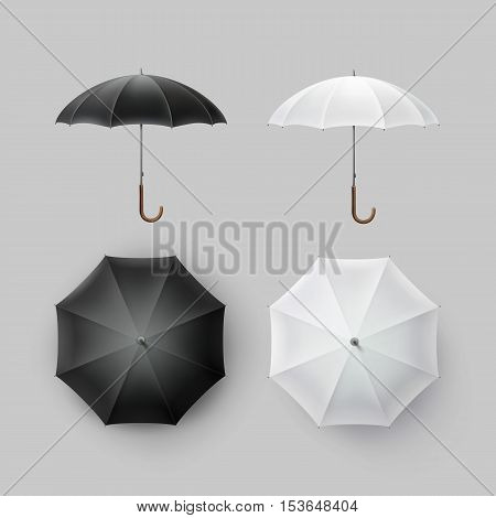 Vector Set of White Black Blank Classic Opened Round Rain Umbrella Parasol Sunshade Top Front Side View Mock up Close up Isolated on Background