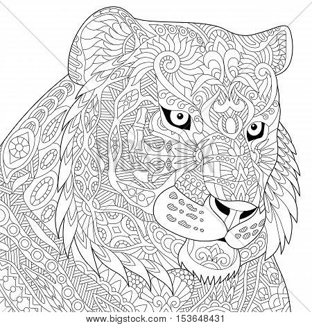 Stylized tiger (lion wildcat) isolated on white background. Freehand sketch for adult anti stress coloring book page with doodle and zentangle elements.