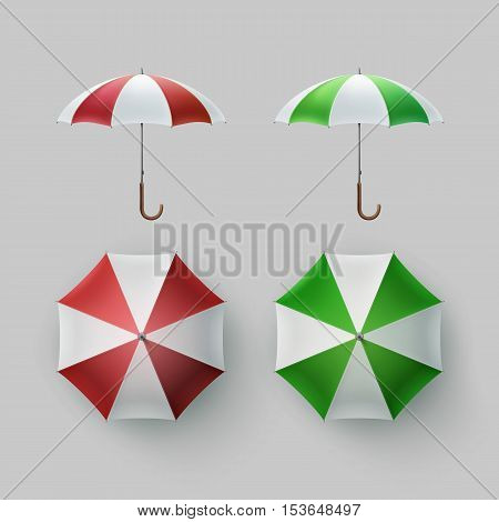 Vector Set of White Green Red White Striped Blank Classic Opened Round Rain Umbrella Parasol Sunshade Top Front Side View Mock up Close up Isolated on Background.