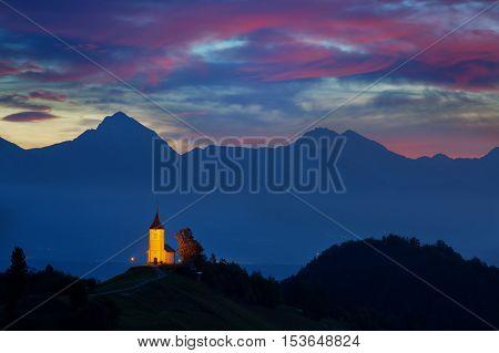 St. Primoz church in Yamnik at sunrise Slovenia
