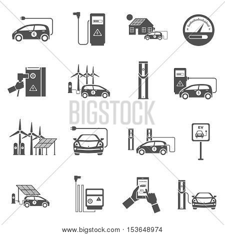 Electric car charging public network service stations with electricity generated from solar black icons collection isolated vector illustration