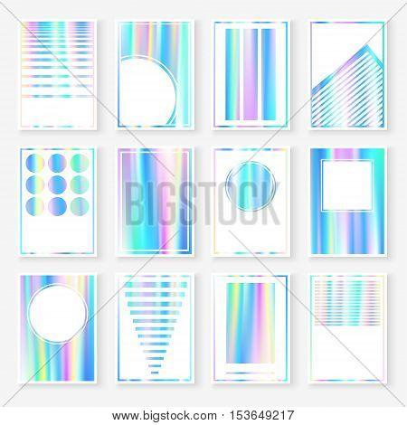 Holographic Cards Templates Set Pastel Blurs Blue