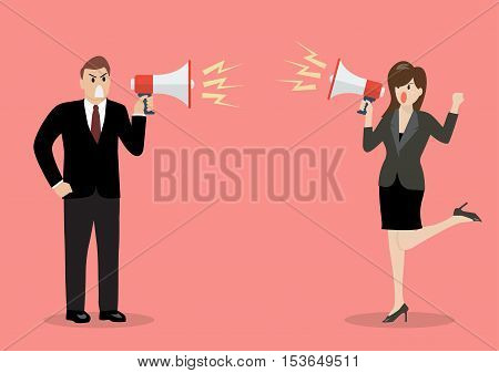 Businessman and woman are shouting on each other with megaphones. Business concept