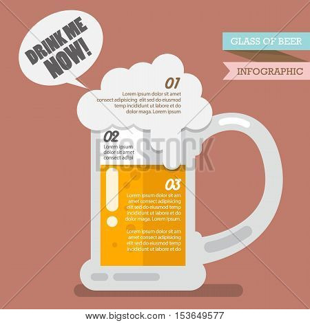 Glass of beer infographic. Flat style vector illustration