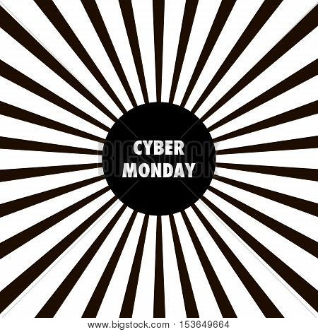 Design template with text Cyber Monday. Black and white Sunburst background. Cyber Monday banner.  Cyber Monday vector illustration. Cyber Monday on sunburst background.