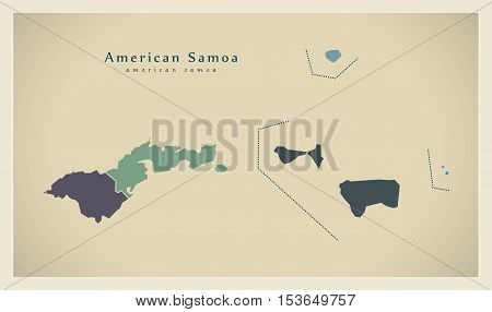 Modern Map - American Samoa details AS vector