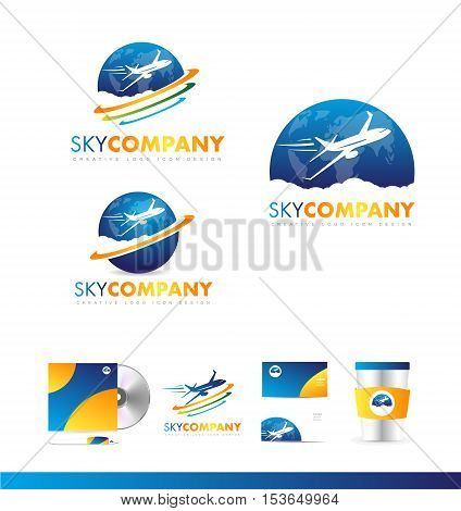 Air plane earth continents travel jet vector logo icon sign design template corporate identity