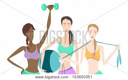 Group Of Beautiful Smiling Young Women Standing Holding Fitness Dumbbel, Fitball, Skipping Rope, Wea