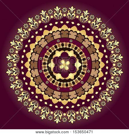 Gold and purple vintage round pattern over dark vector