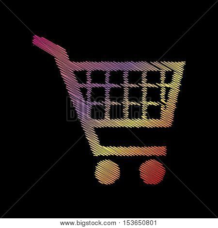 Shopping Cart Sign. Coloful Chalk Effect On Black Backgound.