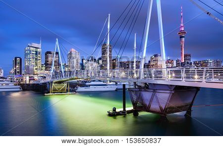Auckland city skyline with beautiful blue and orang colours.