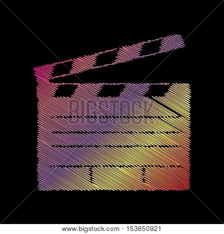 Film Clap Board Cinema Sign. Coloful Chalk Effect On Black Backgound.