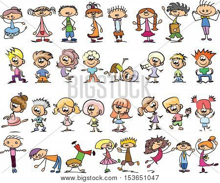 Cute happy cartoon doodle kids llustration picture for your design