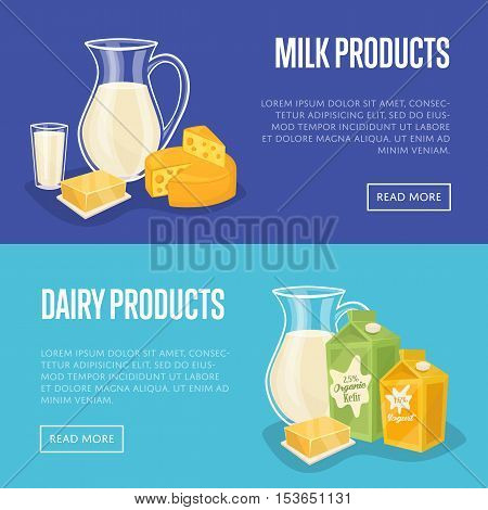 Dairy horizontal templates with different milk products and cow on green field, vector illustrations with space for text. Nutritious and healthy products. Organic farming. Natural and healthy food.
