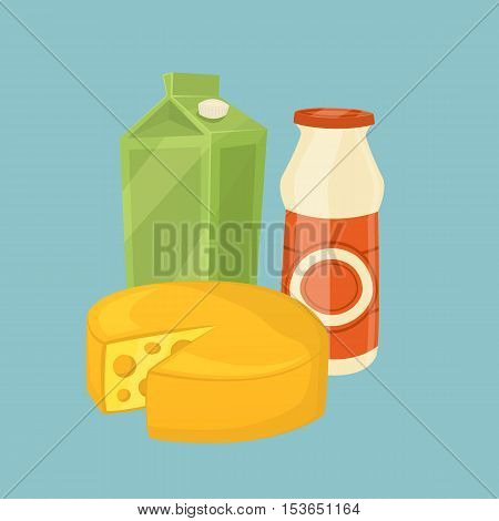Cheese wheel and other dairy products isolated on blue background, vector illustration. Nutritious and healthy milk products. Natural and healthy food. Organic farmers products. Dairy icon.