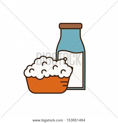 Dairy icon in line style design with cottage cheese on plate and glass bottle with milk, isolated vector illustration. Traditional and healthy products. Organic farming. Natural and healthy food