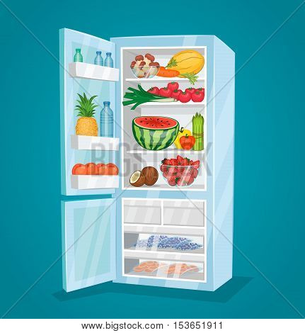 Refrigerator full of food. Opened fridge filled with fresh fruits and vegetables vector illustration on blue background. Vegetarian meals. Saving freshness of products. Healthy nutrition concept