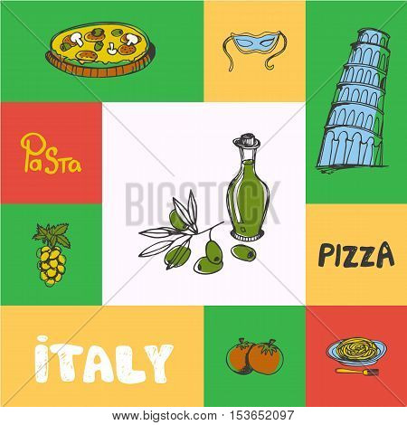 Italy checkered concept in national colors. Bottle of olive oil, Falling tower in Pisa, pizza, pasta in plate, grapes, tomatoes hand drawn vector icons. Travel to Italy symbol concept. Discover Italy. Elements of Italy for travel agency.