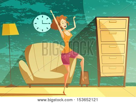 Young girl dancing alone at home late in the evening with beautiful emerald green background vector illustration