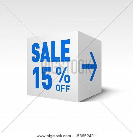 Cube Banner Template. Fifteen Percent off Discount