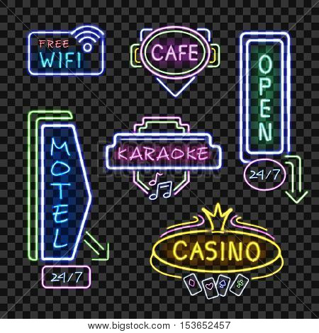 Neon motel internet cafe open signboards at night realistic icons collection transparent background isolated vector illustration