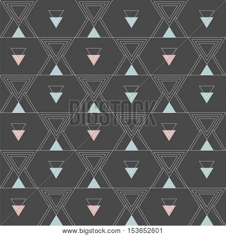 seamless pattern with abstract minimalistic ornament on black background