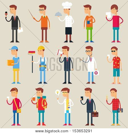 Set of vector male characters, professions, flat style