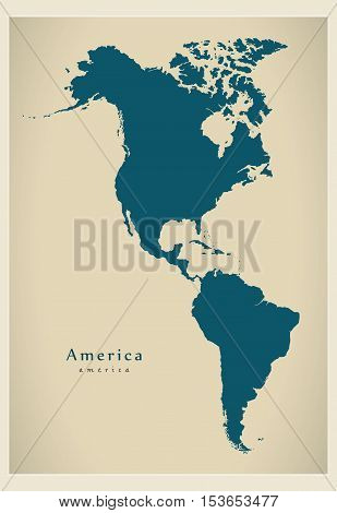 Modern Map - America complete map vector