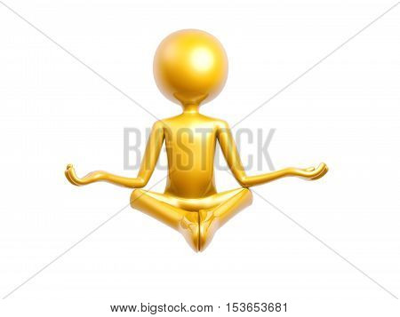 golden guy doing yoga meditation sitting isolated on white background 3d illustration