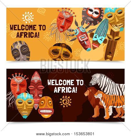 Colorful horizontal banners with african ethnic tribal ritual masks and wild animals isolated on white background vector illustration