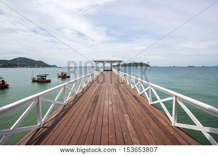 Asadang Bridge Pier at Koh Sichang,Chonburi Thailand