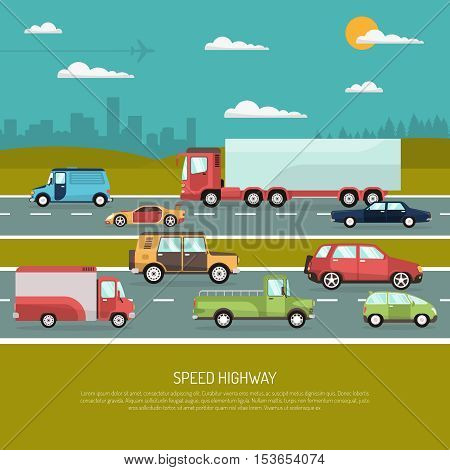 Speed highway design concept with view side of different types of passenger cars and trucks flat vector illustration