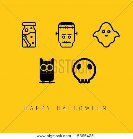 Happy Halloween Icon Set. Easy to manipulate, re-size or colorize.
