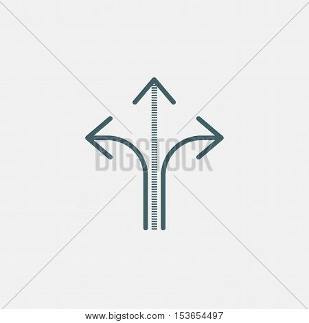three-way direction arrow, three-way direction arrow sign, road direction, road direction icon, vector illustration