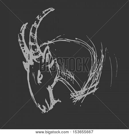 Capricorn Astrological zodiac symbol. Horoscope sign background. Sketch style. Vector Illustration.