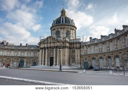 PARIS FRANCE - OCTOBER 11 2015: The building of French Institute in sunny autumn day Paris France