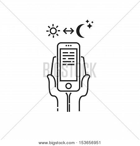 Conceptual modern icon of thin lines Dependence on smartphone day and night. Smartphone in hand day and night