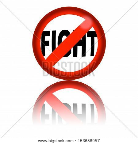 No Fight Sign 3D Rendering