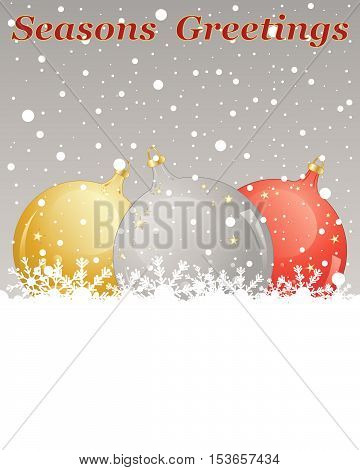 an illustration of a christmas greeting card with gold silver and red metallic bauble decorations on a snowy background