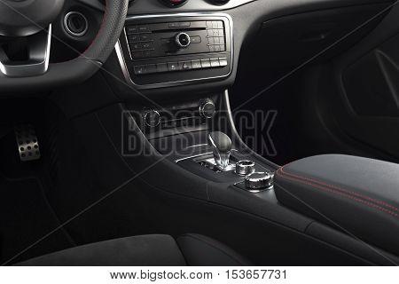 Modern sport car interior, central dashboard panel