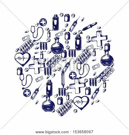 Healthcare and medicine. Vector doodle circle illustration. Medical hand drawn icons. Heart shape, pills, cross, thermometer, stethoscope, syringe pipette plaster etc