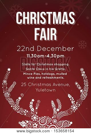Christmas Fair Invitation Flyer Vector Illustration Poster