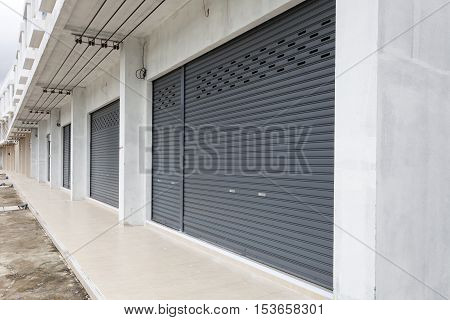 Shutter door or roller door and concrete floor of Commercial Building